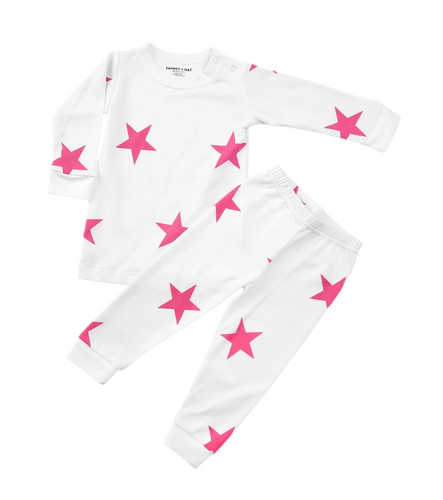 SAMMY + NAT Pink Bold Star Pima Toddler Pajamas