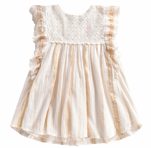 Louise Misha Lyka White & Gold Dress