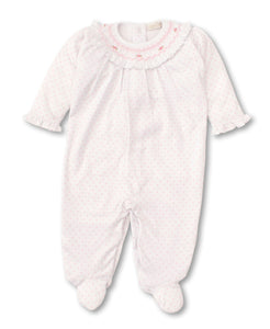 kissy kissy Pink Heart Smocked Footie