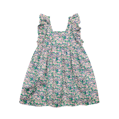 busy bees Sawyer Pink & Green Floral Flutter Sleeve Dress