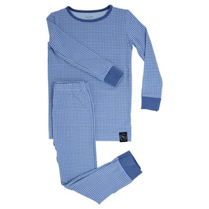 Sweet Bamboo Blue Houndstooth LS Toddler PJs