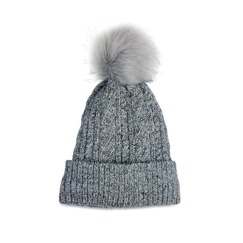 Hat Attack Classic Cable Denim Lined Pom Hat