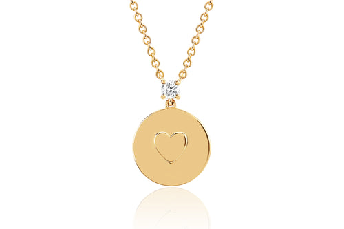 EF Collection Diamond Heart Disc Yellow Gold Necklace