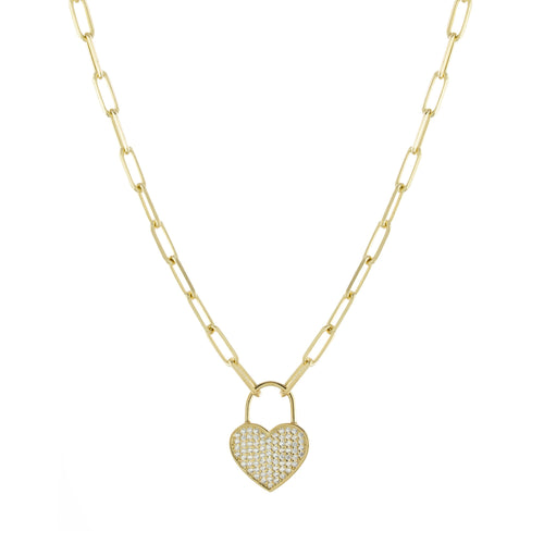 Alex Mika Heart Lock Link Necklace