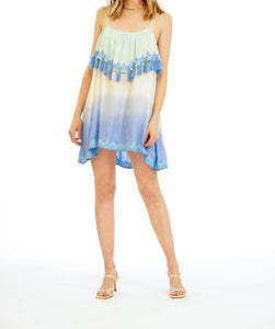 Tiare Hawaii Holter Teal Blue Ombre Mini Dress (1 Size)