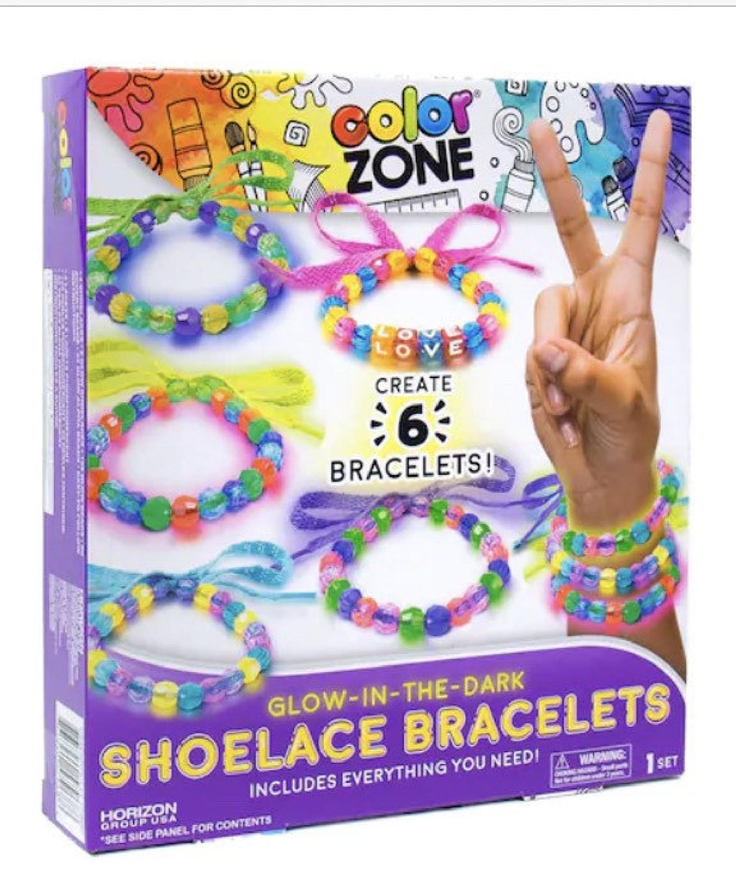 Just My Style Color-Zone Glow-in-the-Dark Shoelace Bracelet Kit