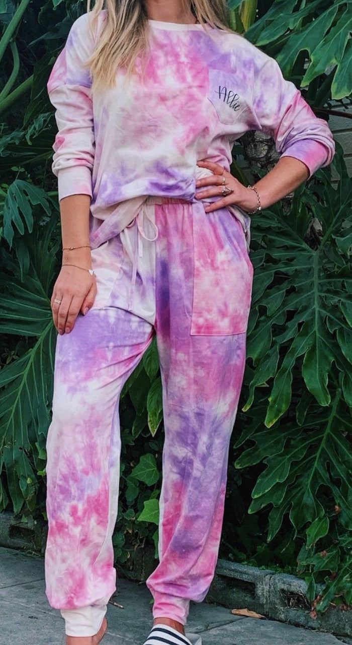 c&s Purple Tie Dye Loungwear Set with Name or Initial Embroidery