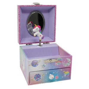 Pink Poppy To The Moon Unicorn Small Music Box