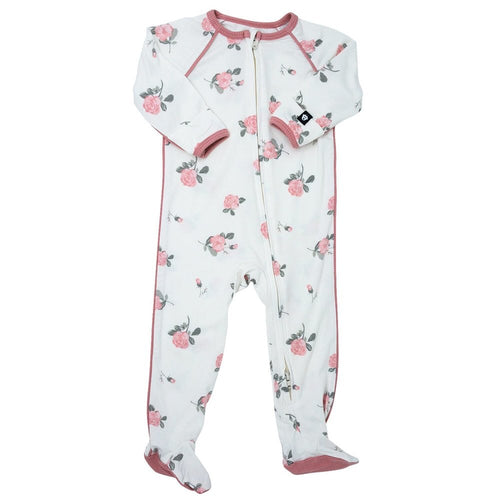 Sweet Bamboo Roses White Piped Footie