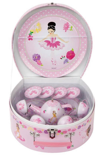 Pink Poppy Ballerina Tin Tea Set in Carrying Case (15 Pieces)