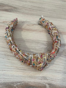 Bari Lynn Rainbow Metallic Tweed Knot Headband