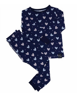 Sweet Bamboo Blue Hearts LS Toddler PJs