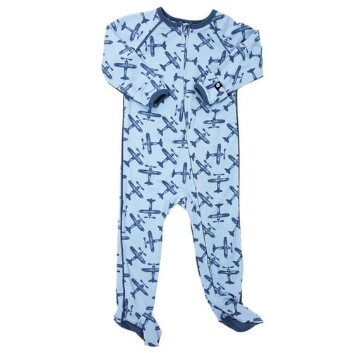 Sweet Bamboo Airplane Blue Piped Zipper Footie
