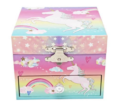 Pink Poppy Cotton Candy Rainbow Unicorn Music Box