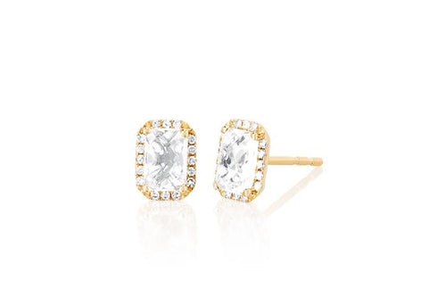 EF Collection Diamond & White Topaz Emerald Cut Yellow Gold Earrings (1 Pair)