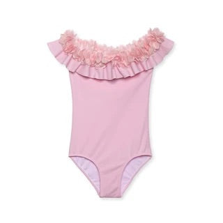 Stella Cove Pink Flower Ruffled One Piece Swimsuit