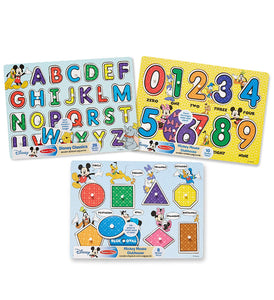 Melissa & Doug Disney Peg Puzzle Bundle (Alphabet, Numbers, Shapes & Colors)