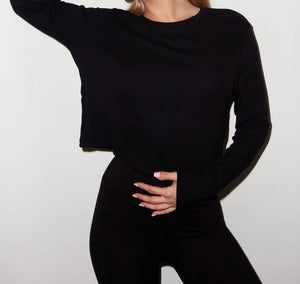 LNA Ribbed Long Sleeve Black Crew