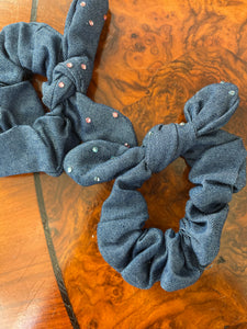 Bari Lynn Dark Denim Crystal Scrunchie