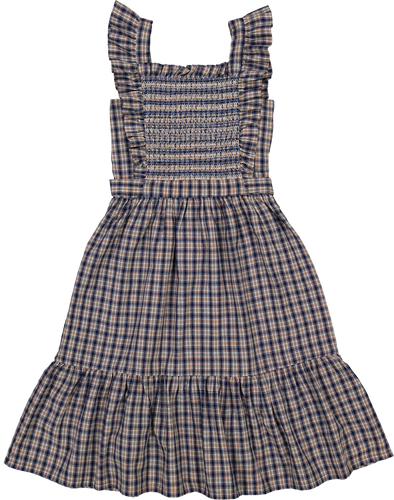 Louis Louise Evita Navy Tartan Dress