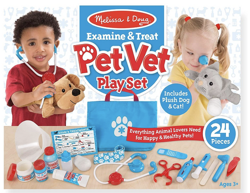 Melissa & Doug Pet Vet Play Set (24 Pieces + Stuffed Animals)