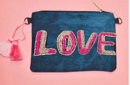 Bari Lynn Beaded LOVE Denim Clutch w/ Detachable Chain Strap