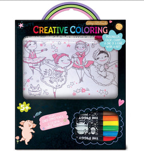 The Piggy Story Creative Coloring: Carry All Pouch- Pretty Ballerinas