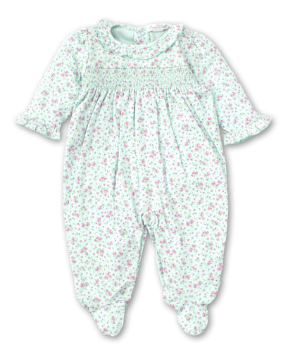 kissy kissy Mint Rose Smocked Footie