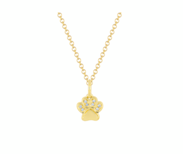EF Collection Diamond Yellow Gold Dog Paw Necklace
