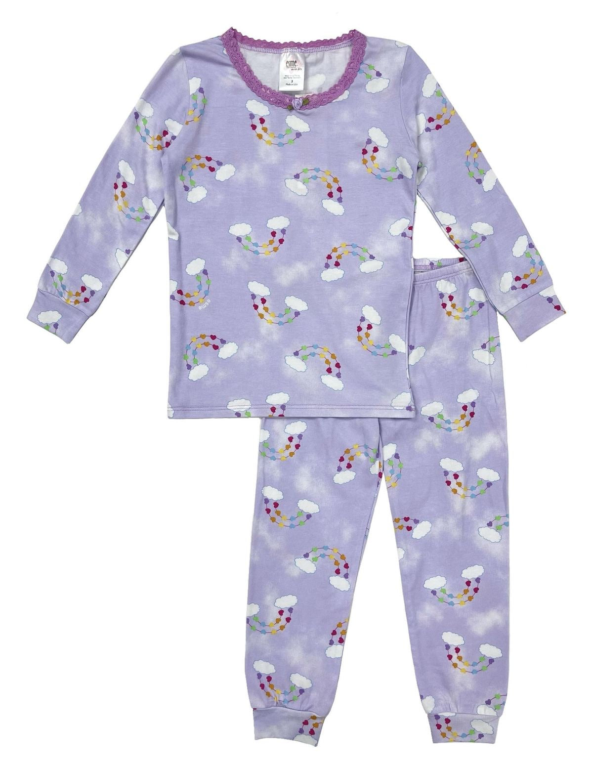esme Rainbow Heart Clouds with Lace LS Pajama Set