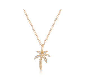 EF Collection Diamond Yellow Gold Wild Palm Tree Necklace