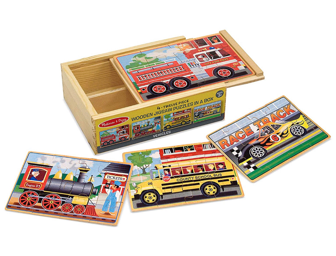 Melissa & Doug Vehicles 4-in-1 Wooden Jigsaw Puzzles