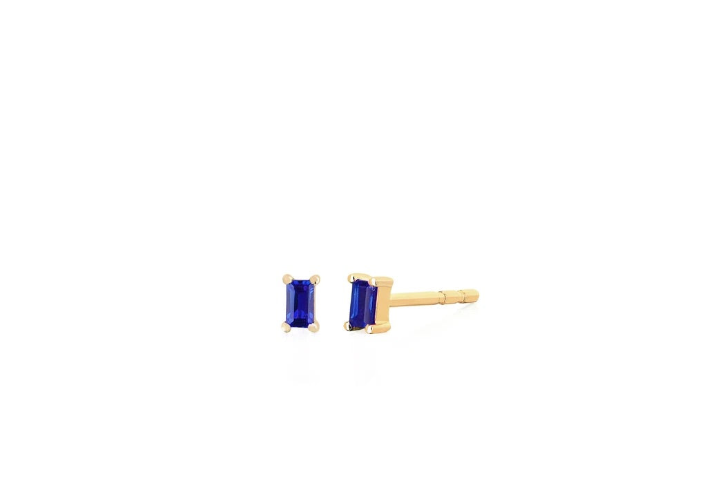 EF Collection Blue Sapphire Baguette YG Earrings (1 pair)