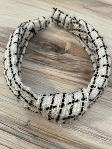 Bari Lynn Black & White Metallic Tweed Knot Headband