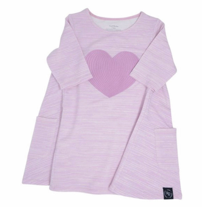 Sweet Bamboo French Terry Lilac Heart Dress
