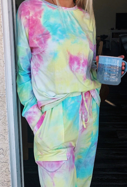 c&s Yellow Tie Dye Loungwear Set with Name or Initial Embroidery