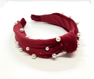 Bari Lynn Red Velvet Knot Headband w/ Pearls