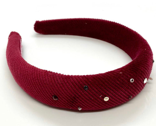 Bari Lynn Padded Ribbed Burgundy Headband w/ Crystals