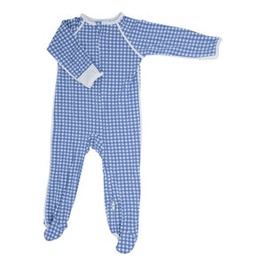 Sweet Bamboo Blue Gingham Footie