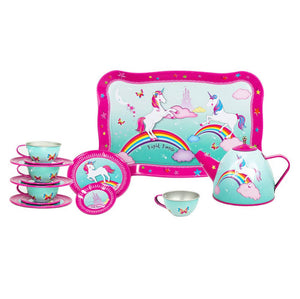 Pink Poppy Unicorn Tin Tea Set (14 Pieces)