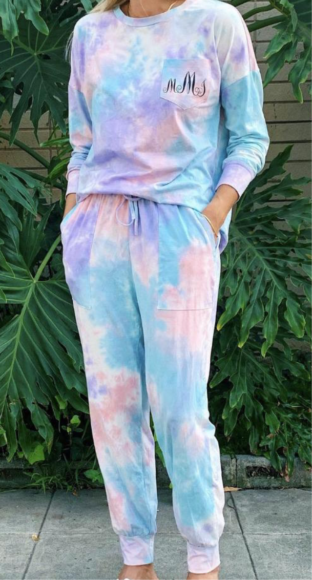 c&s Blue Tie Dye Loungwear Set with Name or Initial Embroidery