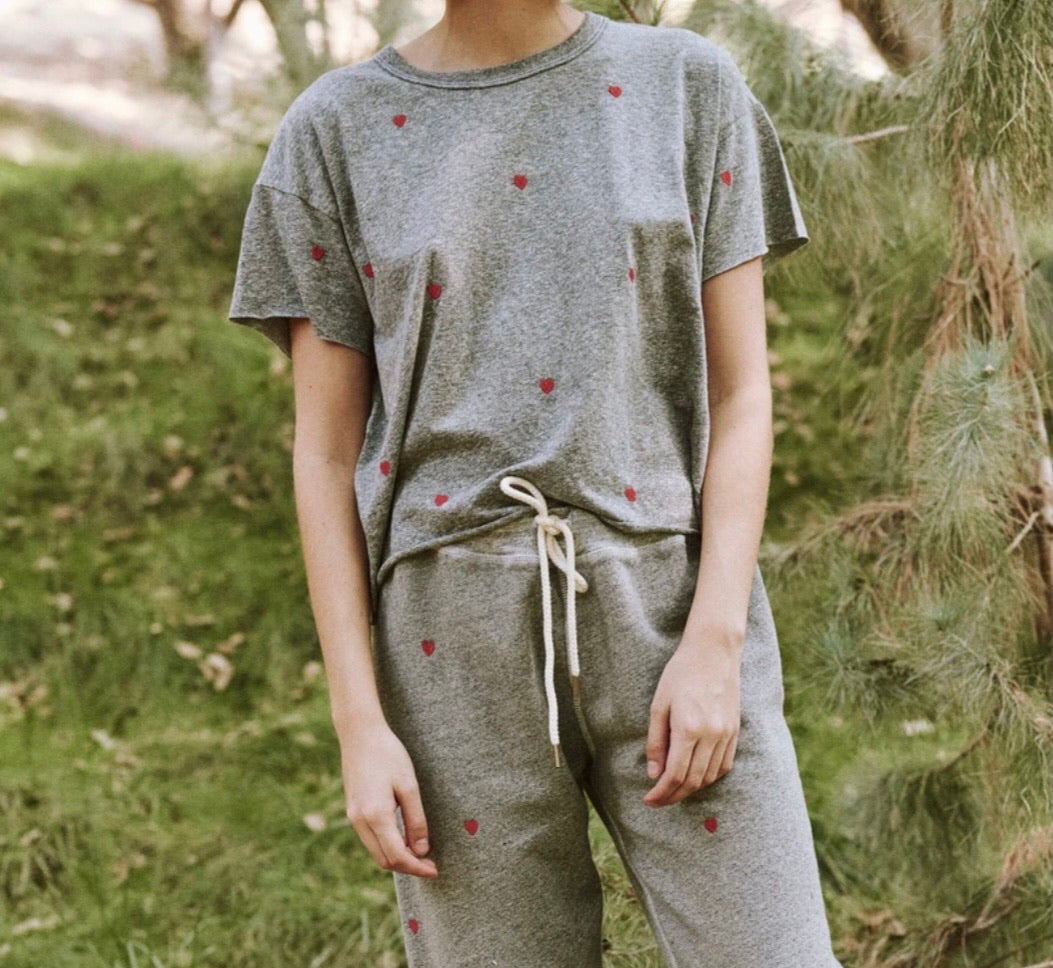 The GREAT Crop Heather Grey w/ Hearts Tee