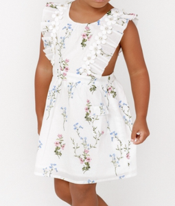 Lil Lemons Tulip Apron Ivory Dress