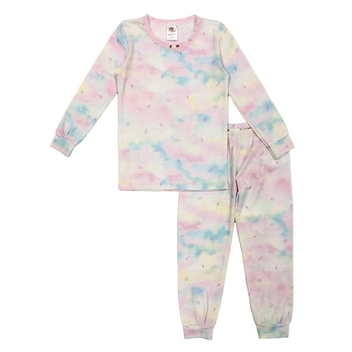 esme Shimmer Clouds with Lace LS Pajama Set