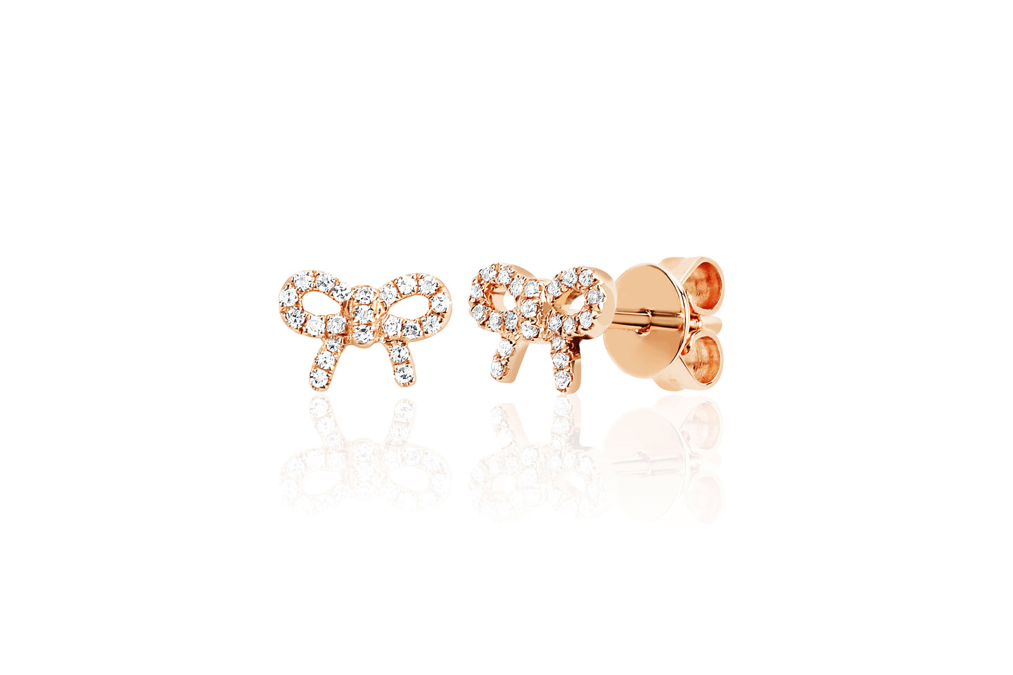 EF Collection Diamond Mini Bow Rose Gold Stud Earrings (1 unit)