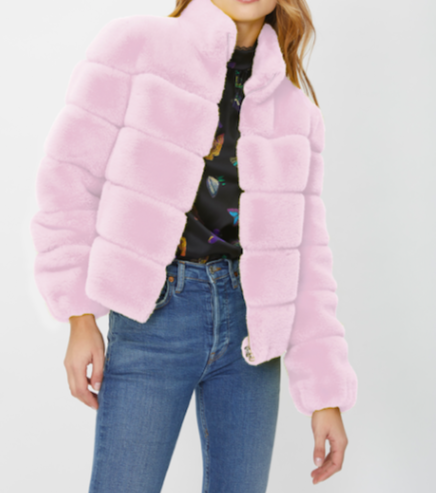 Generation Love Jodi Light Pink Faux Fur Jacket