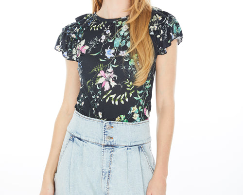 Generation Love Carrie Ruffle Black Floral Tee