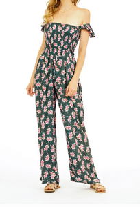 Tiare Hawaii Jade Tropical Charcoal Jumpsuit (1 Size)