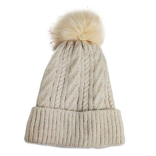 Hat Attack Classic Cable Oat Lined Pom Hat