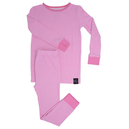 Sweet Bamboo Pink Houndstooth LS Toddler PJs